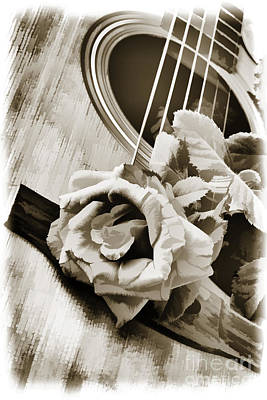 Painting - Rose Bloom Flower On Guitar Painting In Sepia 3261.01 by M K  Miller