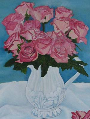 Art Print featuring the photograph Rose Bouquet In A Pitcher by Margaret Newcomb