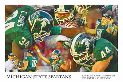 Michigan State Painting - Rose Bowl Collage by John Farr
