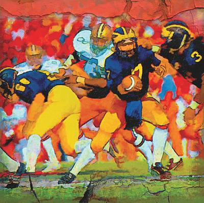 University Of Michigan Painting - Rose Bowl Handoff by John Farr