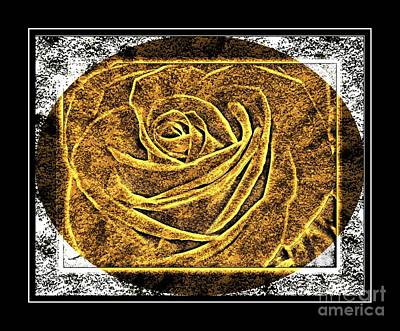 Brass Etching Digital Art - Rose Petals - Brass Etching by Barbara Griffin