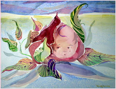 Flower Pink Fairy Child Painting - Rose Bud by Mindy Newman