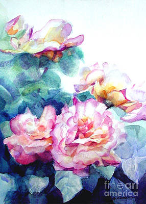 Pink Rose Bush Original by Greta Corens