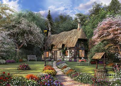 Rural Digital Art - Rose Cottage Variant 1 by Dominic Davison