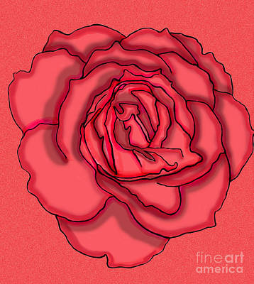 Floral Digital Art Digital Art Drawing - Rose Drawing by Christine Perry