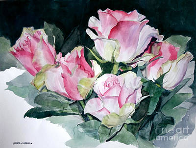 Painting - Watercolor Of A Pink Rose Bouquet Celebrating Ezio Pinza by Greta Corens