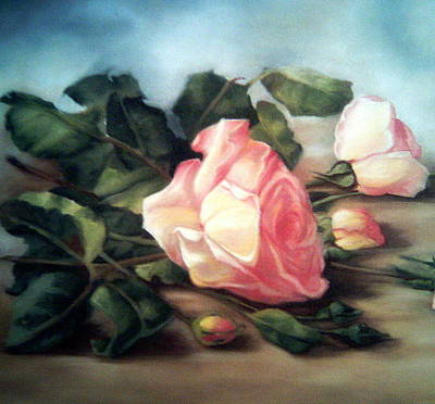 Rose Branch Painting - Rose Flowers by Mojgan Jafari