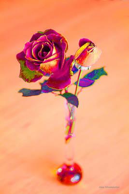 Rose For Love - Metaphysical Energy Art Print Art Print by Alex Khomoutov