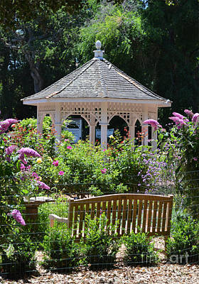 Photograph - Rose Garden And Gazebo At Central Park In San Mateo Ca by Jim Fitzpatrick
