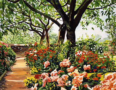 Pathways Painting - Rose Garden Impressions by David Lloyd Glover