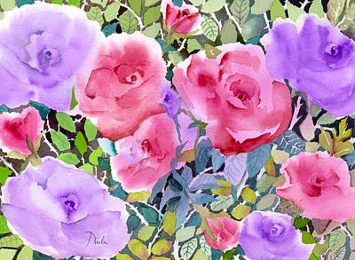 Pinks And Purple Petals Painting - Rose Garden by Neela Pushparaj