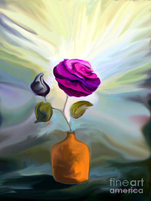 Painting - Rose In A Vase  by Annie Zeno