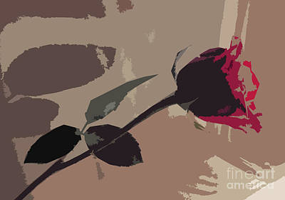 Rose In Abstract Digital Painting Art Print by Minding My  Visions by Adri and Ray