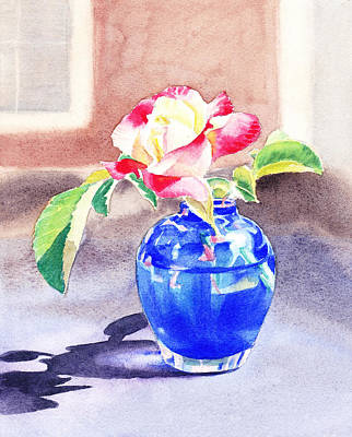 Outdoor Still Life Painting - Rose In The Blue Vase  by Irina Sztukowski