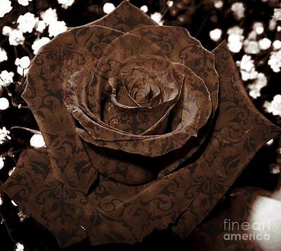 Photograph - Rose In Warm Brocade by Rose Santuci-Sofranko