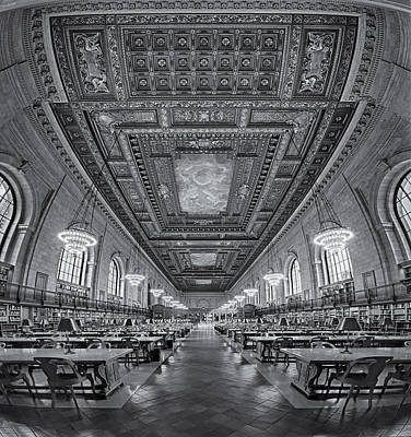 Rose Main Reading Room At The Nypl Bw Print by Susan Candelario