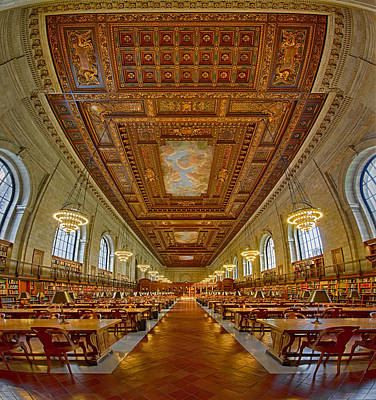 Rose Main Reading Room At The Nypl Print by Susan Candelario
