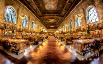 Library Digital Art - Rose Main Reading Room by Jerry Fornarotto
