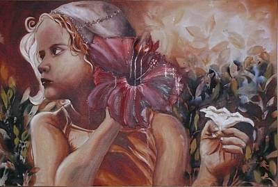 Little Girls In Garden Painting - Rose Of Sharon by Elani Van der Merwe