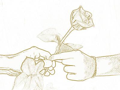 Rose Outline By Jan Marvin Studios Art Print