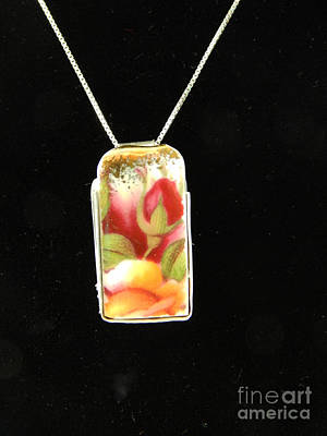 Glass Art - Rose Pendant by Patricia  Tierney
