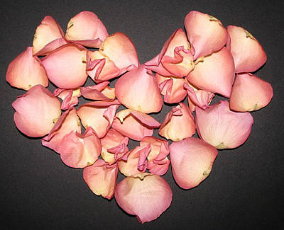 Rose Petals Heart Art Print