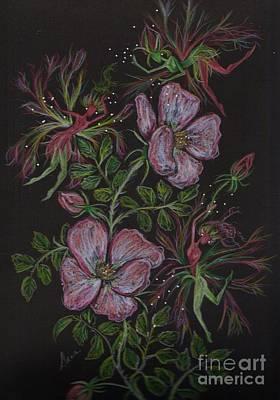 Rosebud Drawing - Rose Run Amok by Dawn Fairies
