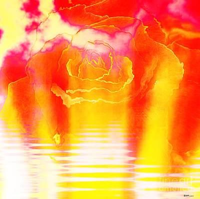 Digital Digital Art - Rose Setting On The Lake by Elizabeth McTaggart