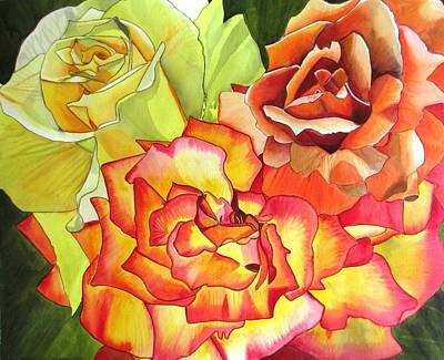 Rose Trio Art Print by Sacha Grossel
