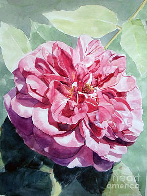Painting - Watercolor Of A Pink Rose In Full Bloom Dedicated To Van Gogh by Greta Corens