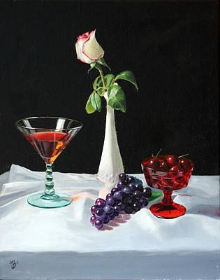 Art Print featuring the painting Rose Wine And Fruit by Glenn Beasley
