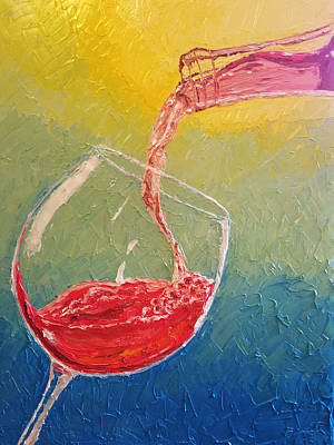 Painting - Rose Wine Being Poured by Eryn Tehan