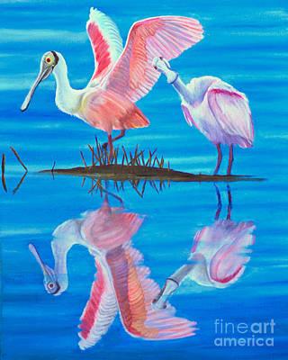Roseate Spoonbill Pair Art Print by Jane Axman