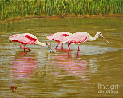 Art Print featuring the painting Roseatte Spoonbill Party by Jimmie Bartlett