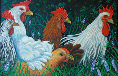 Rosebank Farm Chickens Art Print by Dwain Ray