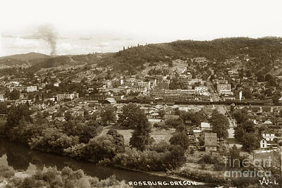 Photograph - Roseburg Oregon On The South Umpqua River Circa 1930 by California Views Archives Mr Pat Hathaway Archives