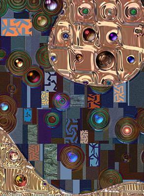 Brass Leafs Digital Art - Rosegold River by Ann Stretton