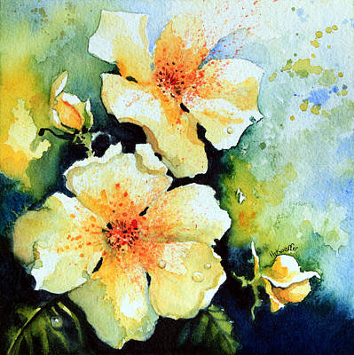 Yellow Rose Of Texas Painting - Roses 2 by Hanne Lore Koehler