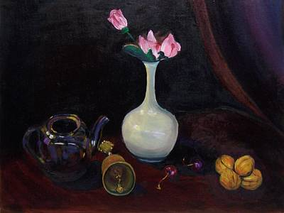 Painting - Roses And Bells by Nicolas Bouteneff