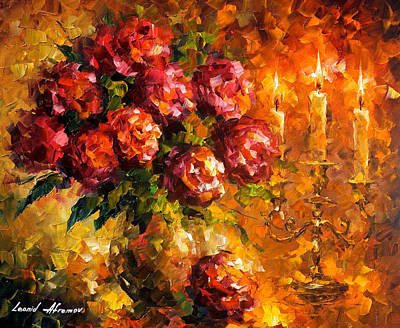 Roses And Candles - Palette Knife Oil Painting On Canvas By Leonid Afremov Original by Leonid Afremov