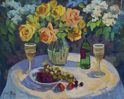 Chardonnay Wine Painting - Roses And Chardonnay by Diane McClary