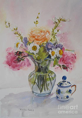 Roses And Daisies Art Print by Beatrice Cloake