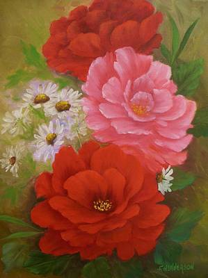 Painting - Roses And Daisies by Francine Henderson