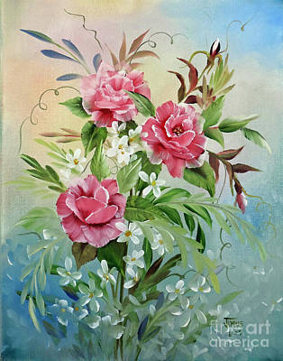 Painting - Roses And Daisies by Jimmie Bartlett