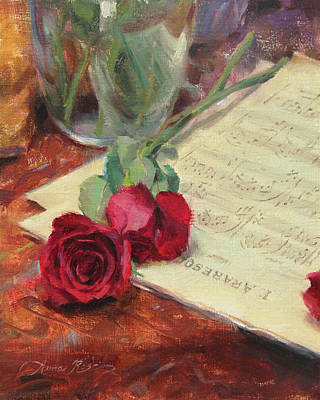 Sheet Music Painting - Roses And Debussy by Anna Rose Bain