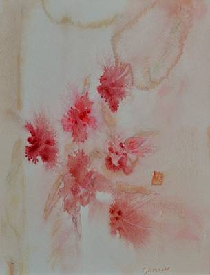 Floral Painting - Roses And Feathers by Carolyn Jackson