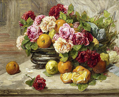Bowl Forms Painting - Roses And Fruit by Mountain Dreams
