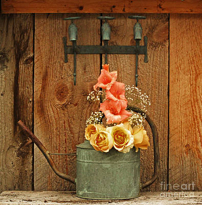 Photograph - Roses And Gladiolus  by Marjorie Imbeau