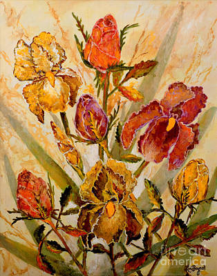 Painting - Roses And Irises by Lou Ann Bagnall