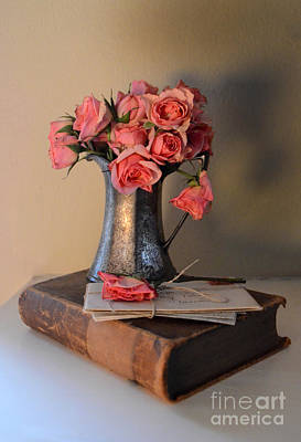 Roses And Letters On A Vintage Book Art Print